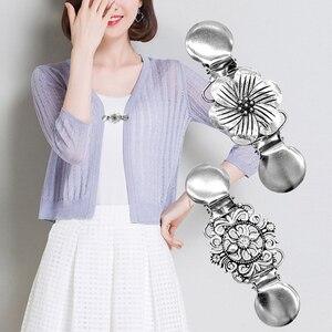 Flower Retro Collar Clip Pin Tie Cardigan Sweater Shawl Clips for Shirts Women Necktie Tie Bar Clasp Clip Garters Accessories(China)