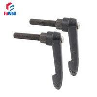 Black 12mm X 80mm Clamping Handles Threaded Metal Knob 2pcs M12 Adjustable Handle Lever