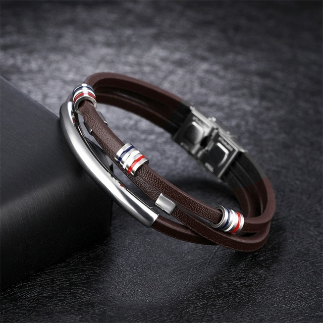 AZIZ BEKKAOUI Engrave Name Brown Leather Bracelet for Men Stainless Steel Bracelets Cowhide Bracelet Vintage Male Accessories