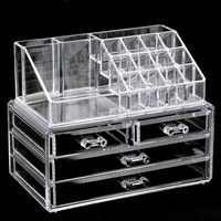 Clear Makeup Case 4 Drawer 16 grid Cosmetic Organizer Jewelry Storage Acrylic Box