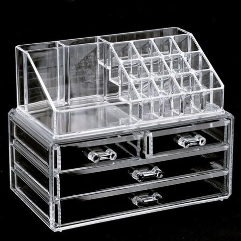 Clear Makeup Case 4 Drawer 16 grid Cosmetic Organizer Jewelry Storage Acrylic Box Pakistan