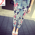 Plus size 2016 new women cute street cartoon mouse printing jeans slim straight high waist denim pencil pants