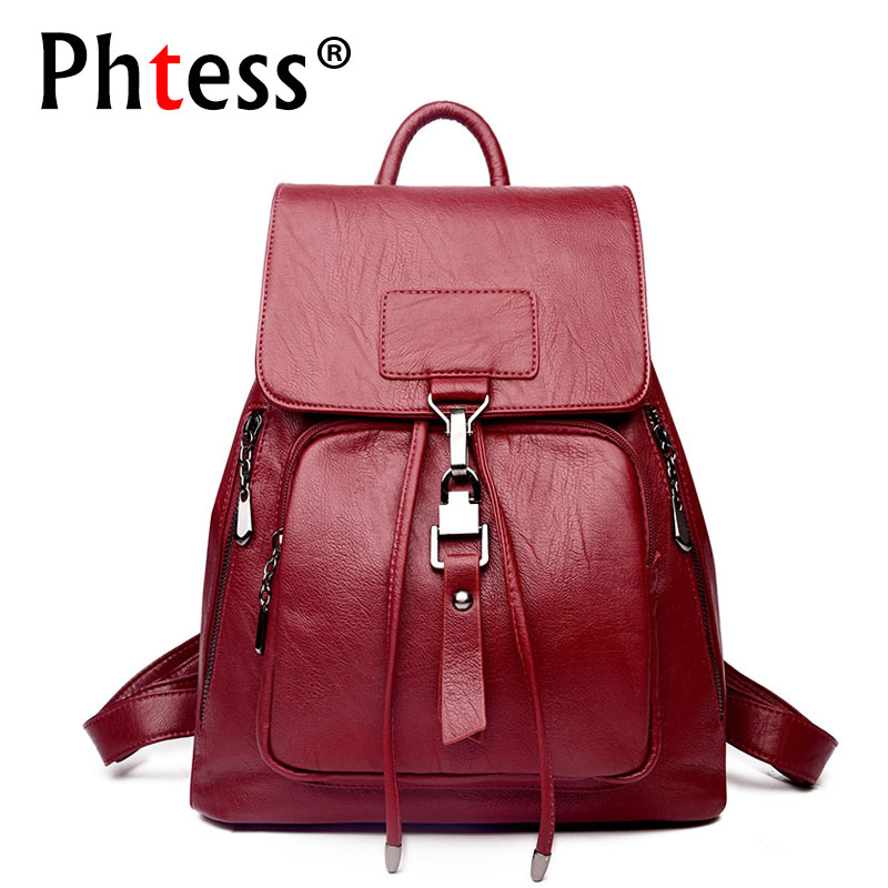 2018 Backpacks For Girls Leather Women Travel Shoulder Bag High Quality Ladies Bagpack Large Capacity Backpack Female Back Pack 2017 new fashion women backpack female pu leather women s backpacks bagpack bags travel bag back pack multi purpose shoulder bag