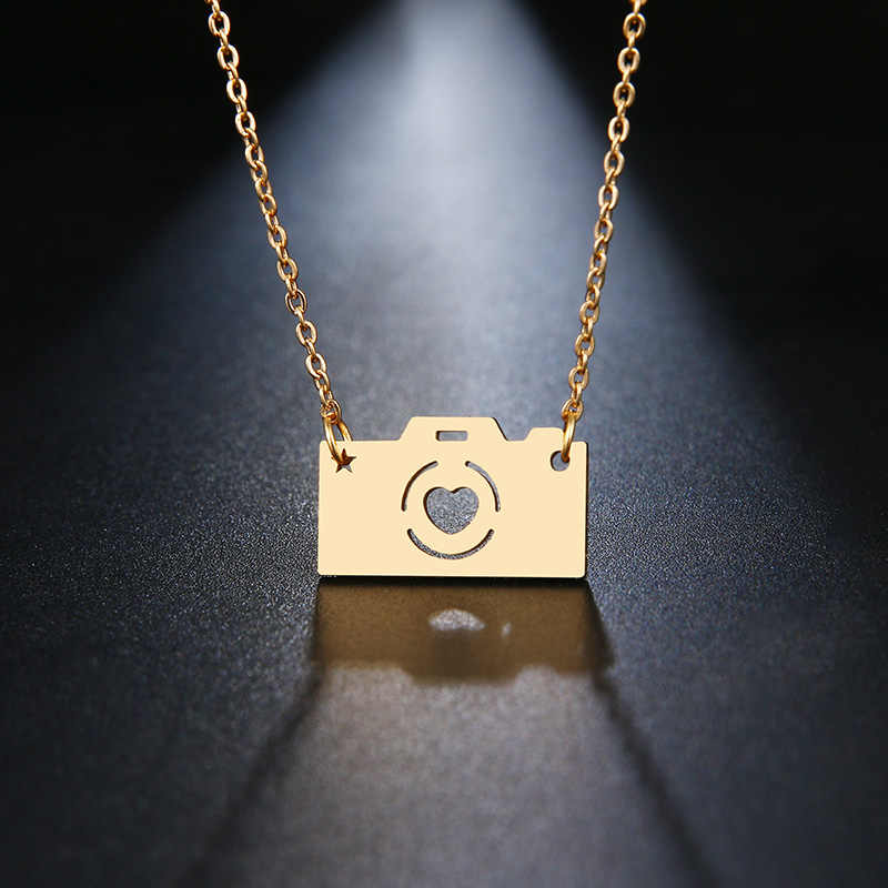 DOTIFI Stainless Steel Necklace For Women Lover's Gold And Silver Color  Camera Pendant Maxi necklace Choker