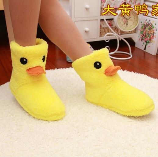 El Nuevo Gran Pato Amarillo Lindo Zapatos de Mujer Zapatillas de Casa de Algodón de Alta Zapatos Caseros Zapatos Calientes Zapatos de Invierno Zapatillas De Felpa Interior