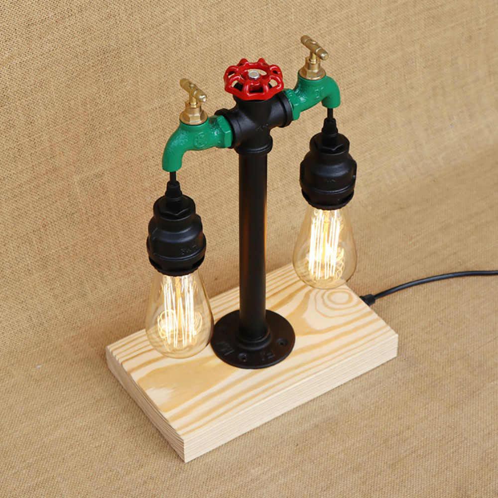 Арт-деко старинная водопроводная труба стимпанк настольные лампы с выключателем e27/e26 led Настольная лампа для постели спальня офисные кафе