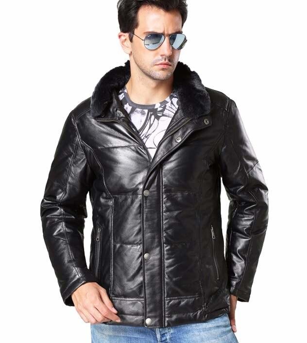 Winter fashion mens duck down coat males genuine sheepskin leather jacket with rabbit fur collar black plus size xxxl 2xl 3xl
