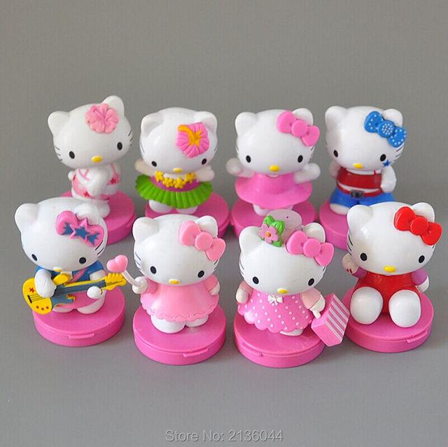 8pcs japanese anime hello kitty toy set car accessories kitti pvc miniature action figures baby kids