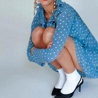 100% Silk The Alexandra Dusty Blue Spot Print Long Sleeve Women Ruffle V Neck Wrap Mini Dress