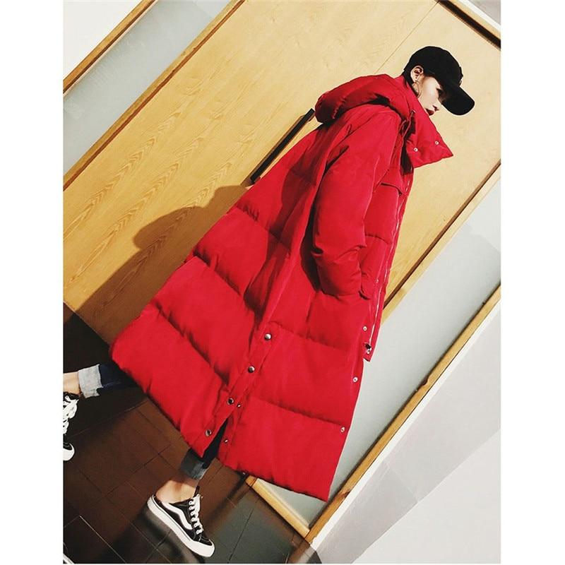 2019 frauen Winter Mantel Neue Mode Lange Graben Mit Kapuze Outwear Unten Baumwolle Padded Windjacke Gerade Mäntel Dame Warme Mantel-in Parkas aus Damenbekleidung bei  Gruppe 1