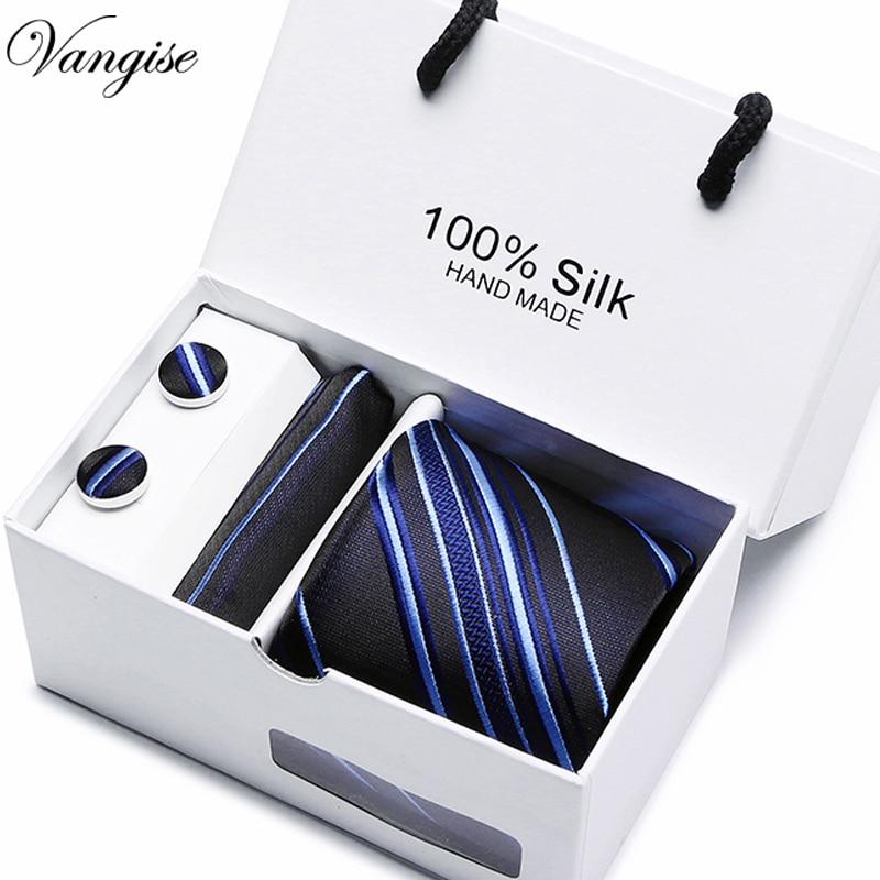 7.5 Arrow Paisley Striped Man's Tie Wedding Mens Neckties Gravata Bussiness Men Tie Handkerchief  Cufflinks Gift Box Packing