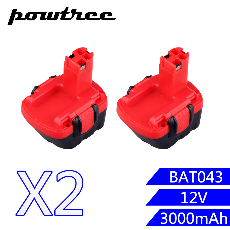 2PACKS 3000mAh 12V Ni-CD BAT043 Rechargeable Battery: BOSCH GSR 12 VE-2,GSB 12 VE-2,PSB 12 VE-2, BAT043 BAT045 BTA120 2607335430