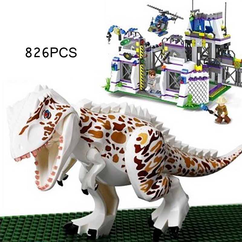 Hot movie Jurassic World dinosaur Park base Tyrannosaurus Rex Get away building block mini Scientist figures brick toys for boys the dinosaur island jurassic infrared remote control electric super large tyrannosaurus rex model children s toy