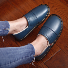 Cow Leather Winter Couples Indoor Slippers Heel Protective Anti-Slip Warm Home Causal for Men and Women
