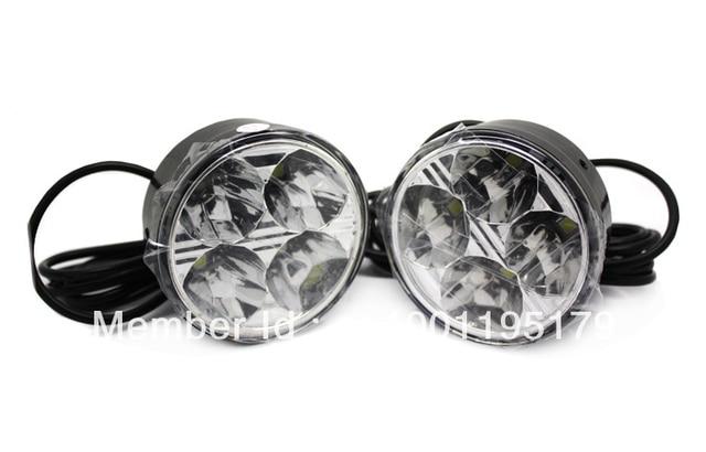 2013Freeshipping Car Lights 2x 4 LED Round DRL Daytime Running Driving Auto Car Fog Light Lamps Bulb Kit 12V