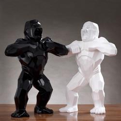 Big Monkey King Kong Living Room Decoration Gorilla Sculpture Geometric Resin Modern Statue Birthday Gift For Wedding Use