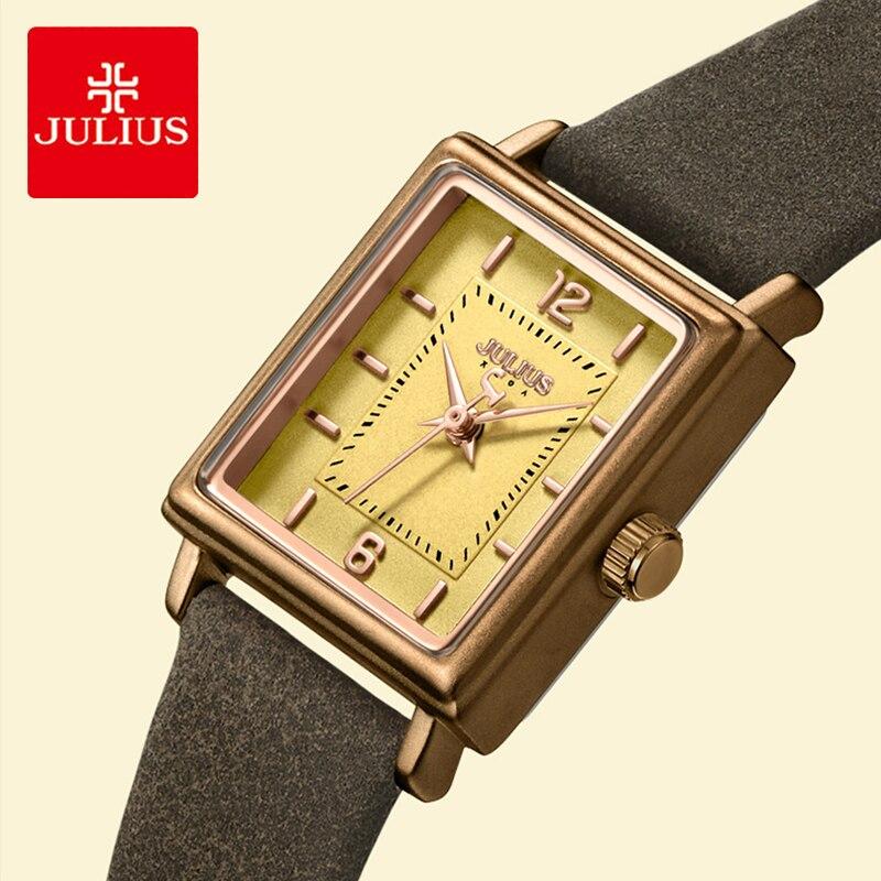 Julius Marque de montre en cuir rétro Femmes Simple Rectangulaire Petit Cadran bracelet de Quartz Étanche Lady Horloge montre pour femme