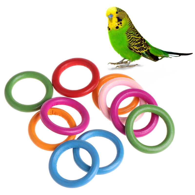 10 Pcs/bag Wood Rings Parrot Toys Accessories Colorful Random Color Diy Ornament #6