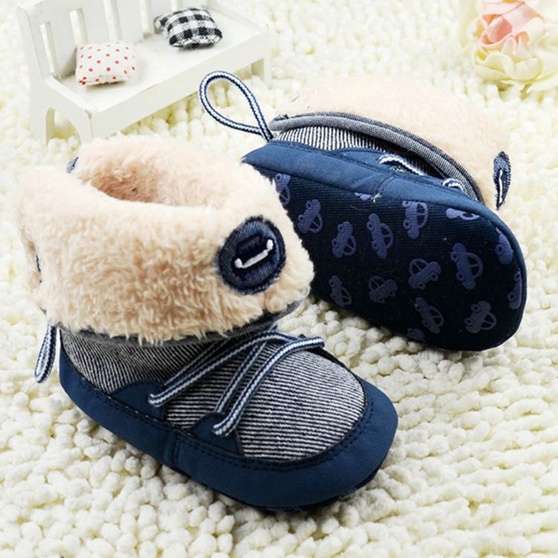 Winter Warm Fur Snow Boots Newborn Toddler Baby Boy Girl Stripes Soft Sole Booties First Walkers in First Walkers from Mother Kids