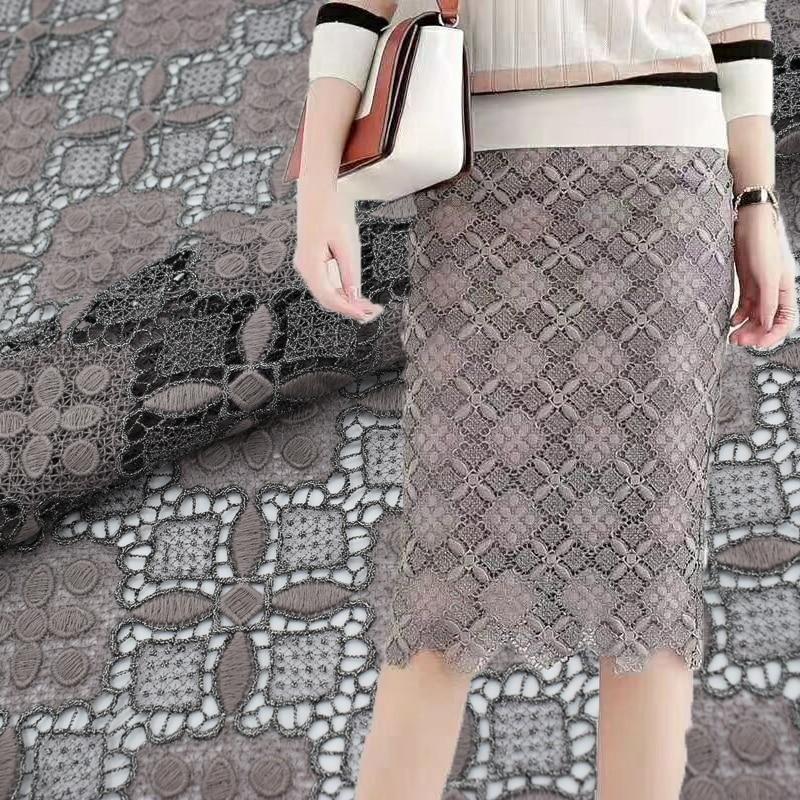 Dark grey lace fabric for dress shirt fabric telas por metros tissu au metre tecido tela shabby chic tissus DIY fabric