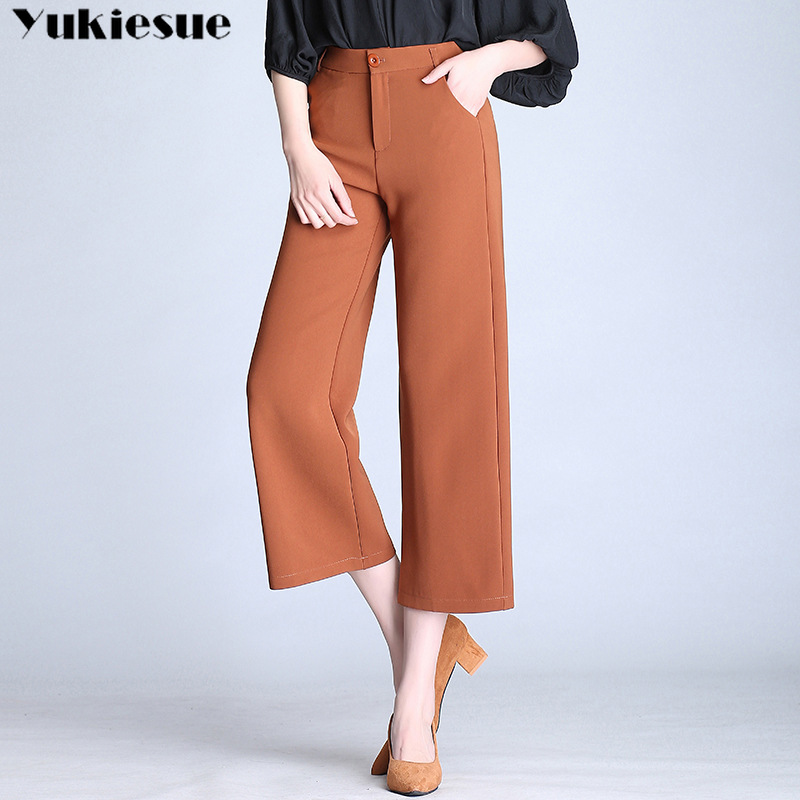 Wide leg   pants     capris   for women with high waist women's   pants   streetwear OL office workwear elegant female trousers Plus size