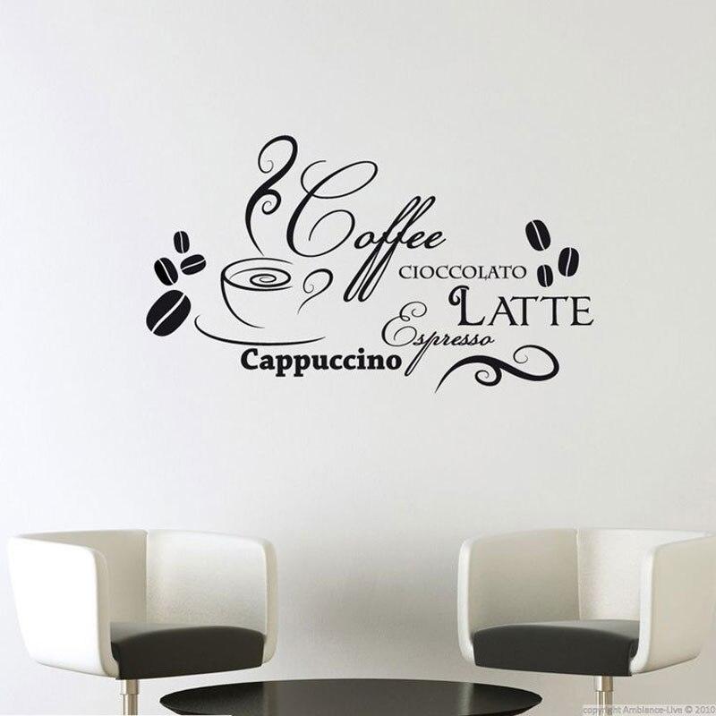 Cuisine vinyle décalcomanie citations Cioccolto Latte café Cacppuccino en italien mode salle à manger décoration peintures murales imperméables CK18