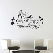 Décalcomanies de Cuisine en vinyle, citations Cioccolto Latte café cacopuccino en italien mode, décoration de salle à manger, peintures murales imperméables CK18