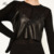 2017 Recién llegado de Simple Estilo de Las Mujeres Atractivas de Imitación de piel de Oveja PU Floral Bordado Negro de Las Señoras Camis Ropa