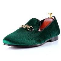 Harpelunde Men Footwear Green Shoes Velvet Cross Buckle Loafers Size 7 14