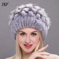 2017 New Women Rabbit Fur Hat Fur Fox Sewing Flower Head Straps Cap Hat Russian Rabbit