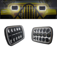 LBQJXY 1 Pair 7X6 5X7 Led headlight with white DRL amber turn signal halo front headlight for jeep wrangler for jeep cherokee xj(China)
