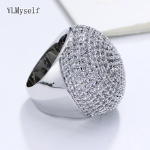 Large full stones ring Micro pave cubic zirconia stones Beautiful party jewelry for women Big rings luxury aaa cubic zirconia micro pave setting big multi layered full finger ring for women r7568