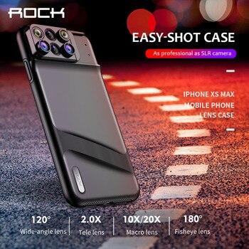947ea7aaa93 ROCK lente caja del teléfono para iPhone XS Max de ojo de pez gran angular Macro  lente teleobjetivo lente Macro 6 en 1 lentes la cubierta del TPU del ...