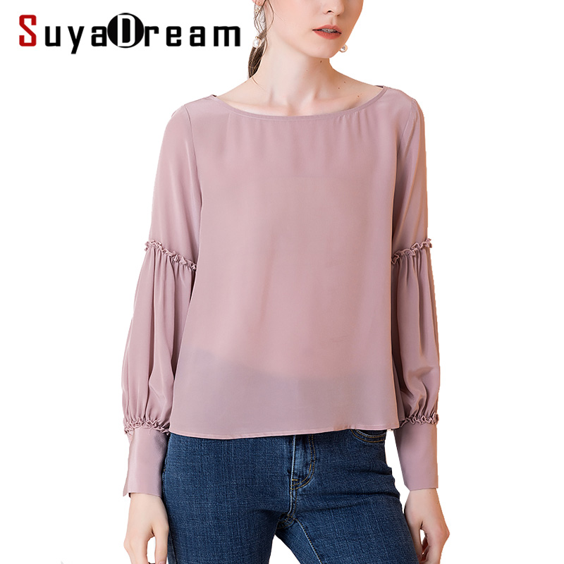 Women Silk   blouse   100% REAL silk crepe Long sleeved Office Lady   blouse     shirt   2018 Fall Winter new top pink