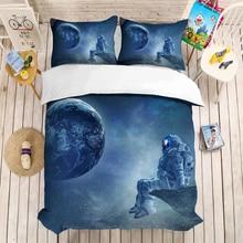 Space series 3D bedding set Children room decor Duvet Covers Pillowcases astronaut bed linen comforter bedclothes