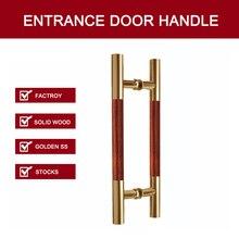 Входная дверь ручки сделаны с 304 Нержавеющая сталь + твердой древесины для всех Дверные рамы PA-215-Golden + розового дерева