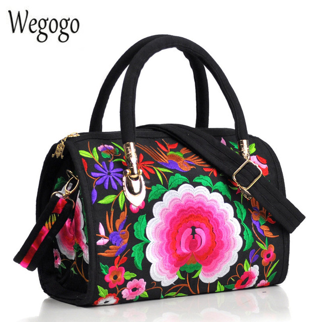 Vintage Women Bag Canvas Flower Embroidered Women Handbag Boho Embroidery Mandala Shoulder Messenger Bag For Woman Girls