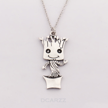 2017 Baby Groot Pendant,Guardians of the Galaxy Necklace,Baby Groot Silver Plated Movie Jewelry,I'm Groot Kawaii Jewelry
