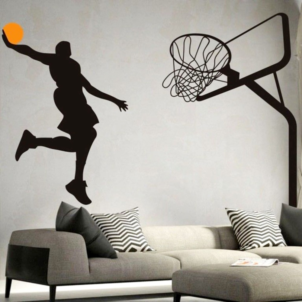 Basketball Dunk Sport Wall Art Decal Vinyl Removable Wall Sticker ...