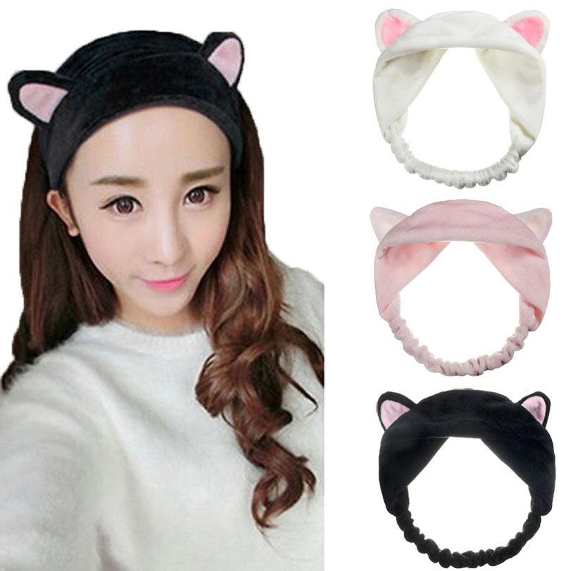 1 PCS Cute Womens Girls Cute Cat Ears Headband Hairband Hair Head Band Party Gift Headdress Hair Accessories Makeup Tool dhl or ems 120pcs two color crossed milk silk headband knotted hair band lady wash headdress td 31 hair accessories