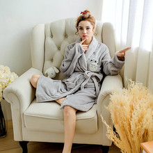 High Quality Girl Bathrobe Thicken Winter Flannel Robes Set Cute Totoro Character Animal Nightgown Casual Gray