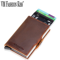 VM FSAHION KISS Genuine Leather RFID Blocking Minimalism Automatic Pop Up Mini Credit Card Wallet Avoid