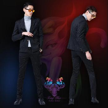 Singer star style dance stage clothing for men suit set with pants diamond mens wedding suits costume groom formal dress black