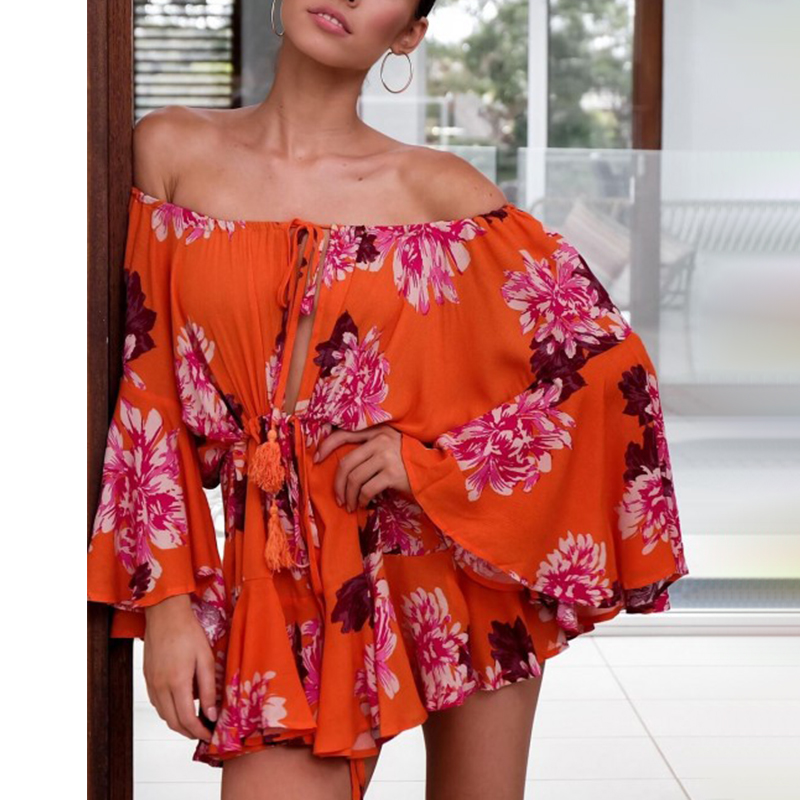 e5183db46f05c Lily Rosie Girl Off Shoulder Yellow Playsuits Women Big Flare Sleeve ...