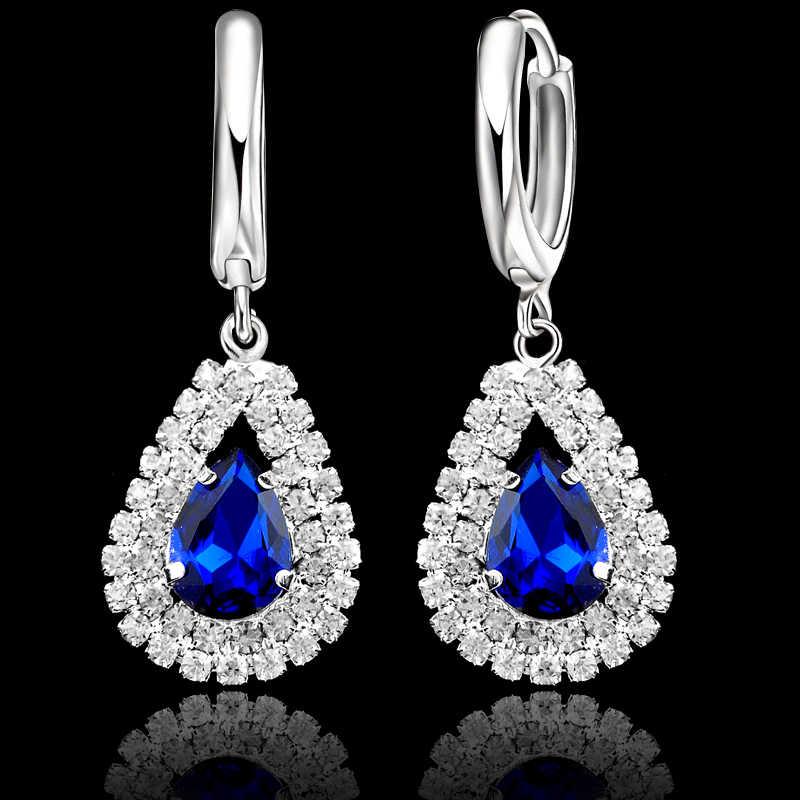 Elegante Hochzeit Schmuck Sets 925 Sterling Silber Frauen Feine Wasser Tropfen Kristall Engagement Anhänger Halskette Ohrringe Set