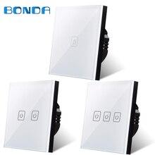 ФОТО bdnda eu/ uk 1/2 / 3 remote control wall lighting switch, smart home, white crystal glass panel intelligent touch switch screen