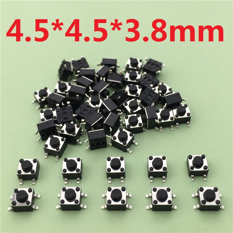 50pcs/lot 4.5x4.5x3.8MM 4PIN SMT G80 Tactile Tact Push Button Micro Switch Self-reset DIP Top Copper Free Shipping 50pcs lot 3x6x4 3mm 2pin tactile tact push button micro switch self reset free shipping