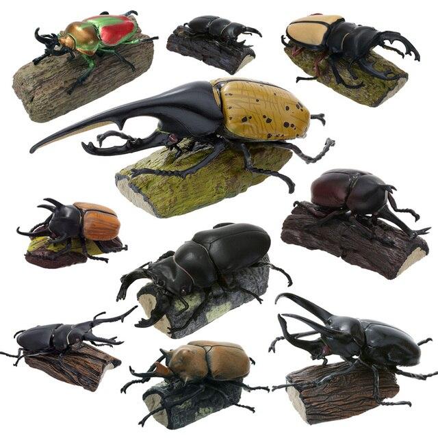 Original 11 ชิ้นแมลงญี่ปุ่นด้วง STAG Beetle กระเป๋าหนอนสัตว์ Figurine เด็กของเล่นสะสม