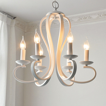 Nến hiện đại ánh sáng Đèn Chùm Bắc Âu Mỹ coutry phong cách Đồ Đạc Cổ Điển màu trắng/màu đen rèn Sắt Chiếu Sáng Nhà E14