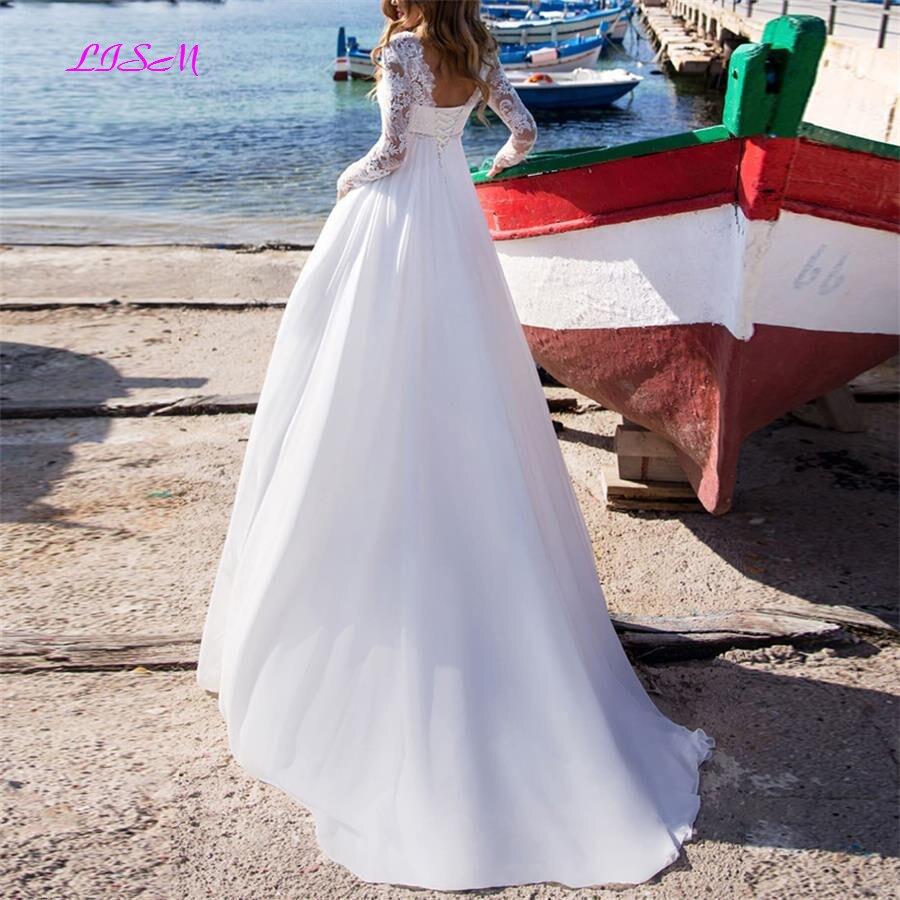 LISM Long Sleeves Lace Beach Wedding Dresses 2019 Chiffon Boho Wedding Dresses Bridal Gowns A-Line Bride Dress vestido de noiva